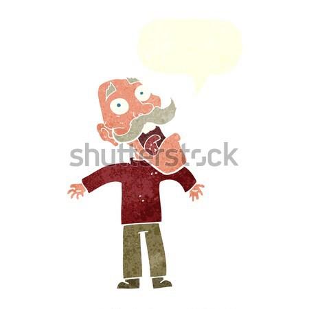 Cartoon przerażony stary dymka strony człowiek Zdjęcia stock © lineartestpilot