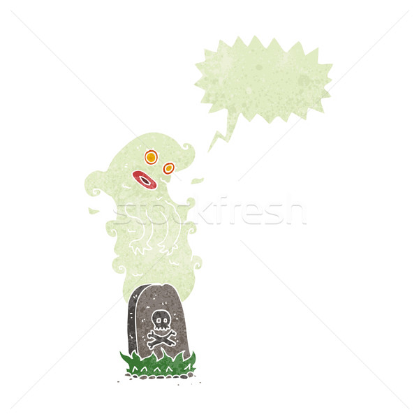 cartoon ghost rising from grave with speech bubble Stock photo © lineartestpilot