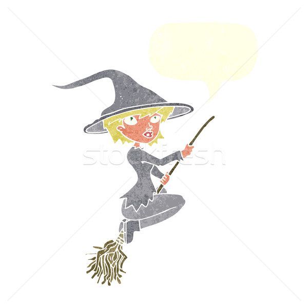 cartoon witch riding broomstick with speech bubble Stock photo © lineartestpilot