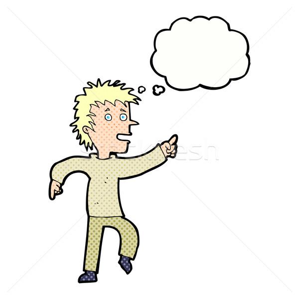 Cartoon felice uomo punta bolla di pensiero mano Foto d'archivio © lineartestpilot