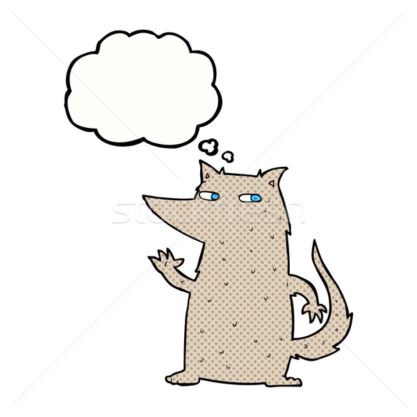 cartoon wolf waving with thought bubble Stock photo © lineartestpilot