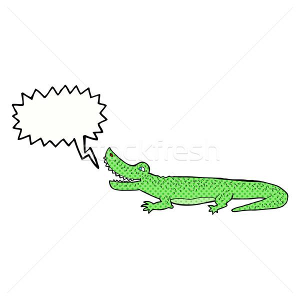 Cartoon feliz cocodrilo bocadillo mano diseno Foto stock © lineartestpilot
