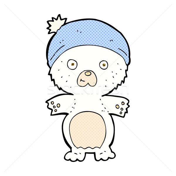 Képregény rajz aranyos jegesmedve kalap retro Stock fotó © lineartestpilot