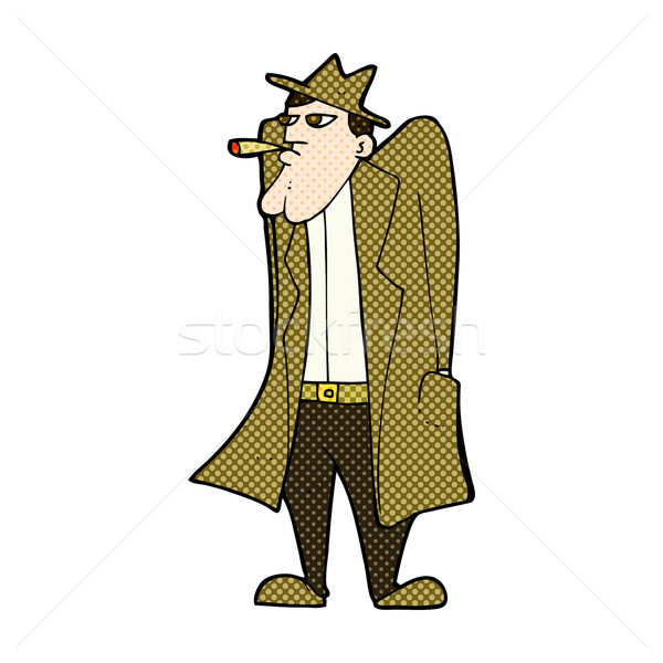 comic cartoon man in hat and trench coat Stock photo © lineartestpilot