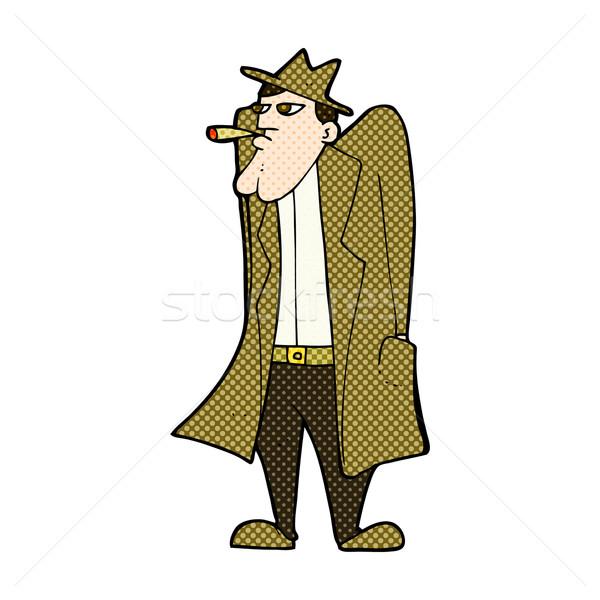 комического Cartoon человека Hat окоп пальто Сток-фото © lineartestpilot