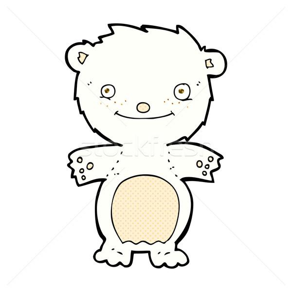 Képregény rajz boldog kicsi jegesmedve retro Stock fotó © lineartestpilot