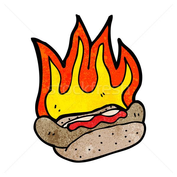 Cartoon пылающий хот-дог говорить ретро рисунок Сток-фото © lineartestpilot