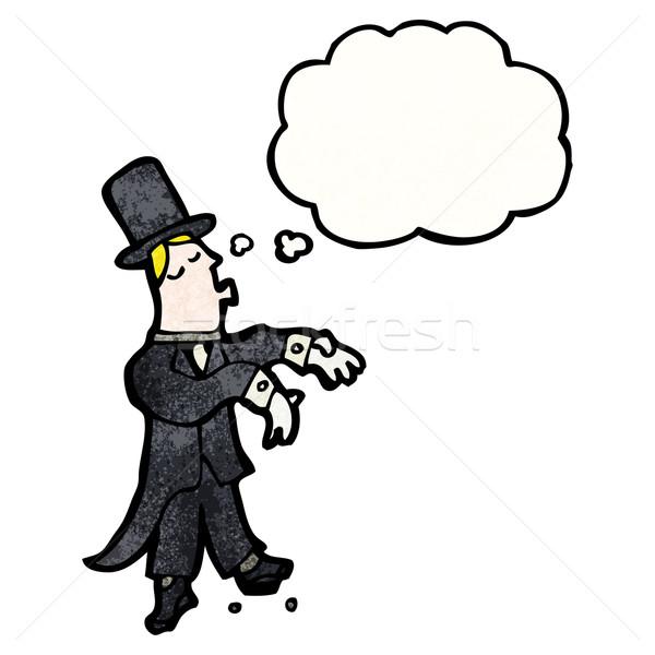 Cartoon homme danse de salon parler rétro pense Photo stock © lineartestpilot