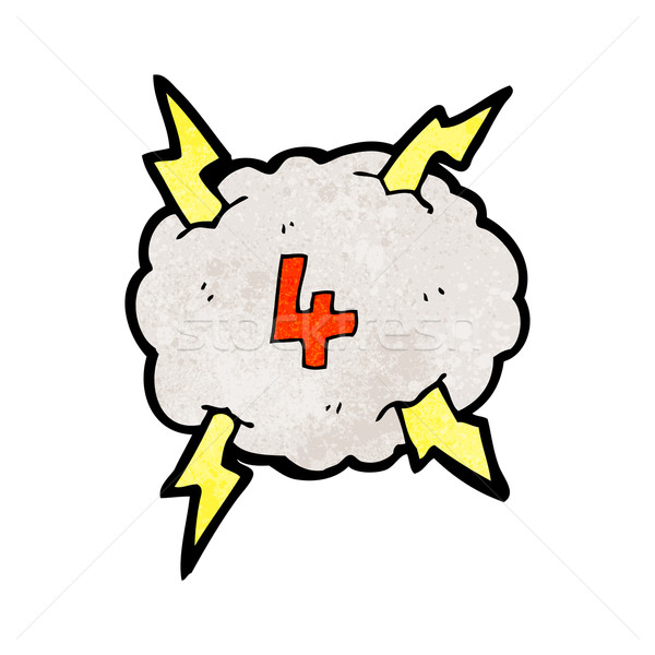 cartoon thunder cloud with number four Stock photo © lineartestpilot