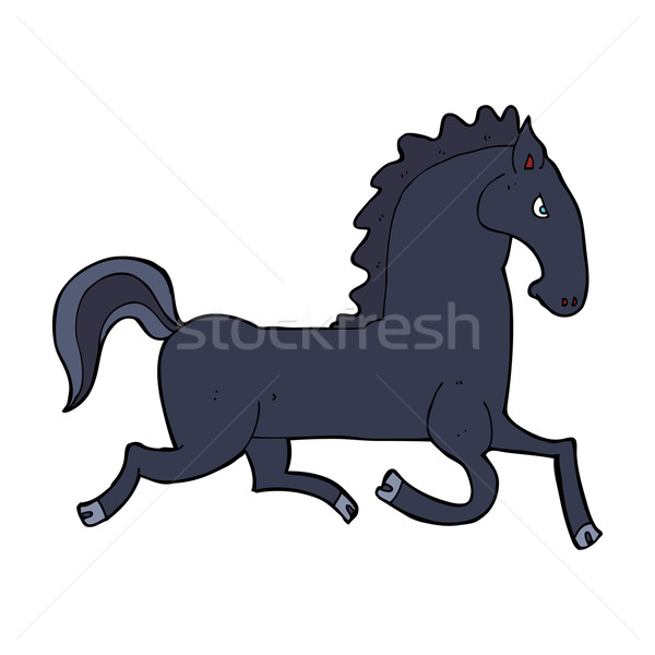 cartoon running black stallion Stock photo © lineartestpilot