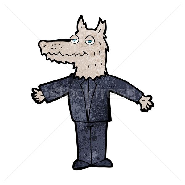 Cartoon волка дизайна искусства бизнесмен ретро Сток-фото © lineartestpilot
