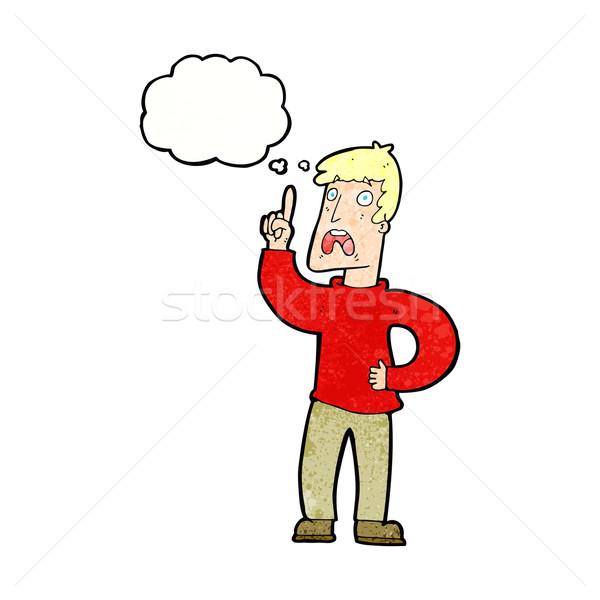 Cartoon man klacht gedachte bel hand ontwerp Stockfoto © lineartestpilot