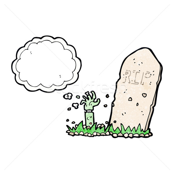 cartoon zombie rising from grave with thought bubble Stock photo © lineartestpilot