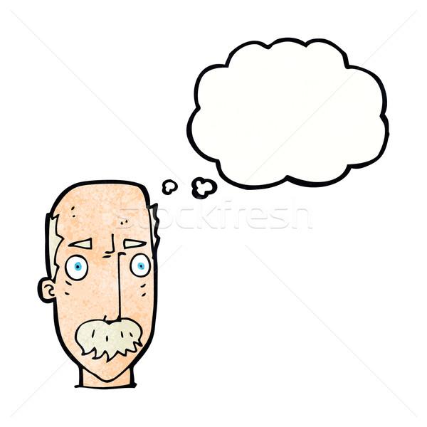 Cartoon infastidito vecchio bolla di pensiero mano faccia Foto d'archivio © lineartestpilot