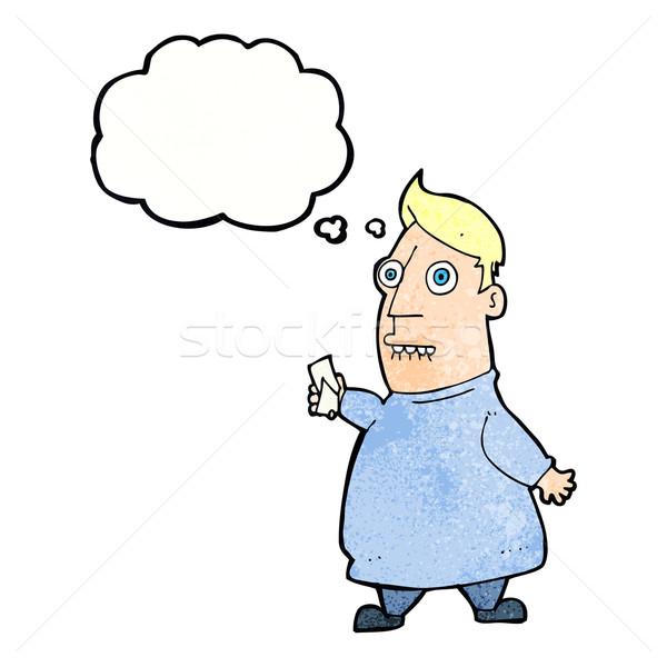 Cartoon nerveux homme billets bulle de pensée main Photo stock © lineartestpilot
