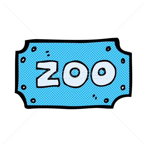 Komische cartoon dierentuin teken retro Stockfoto © lineartestpilot