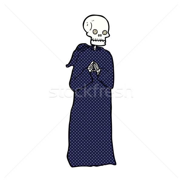 comic cartoon skeleton in black robe Stock photo © lineartestpilot