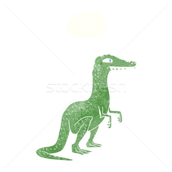 Cartoon динозавр мысли пузырь стороны дизайна Crazy Сток-фото © lineartestpilot