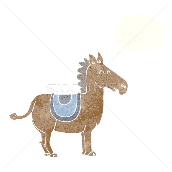 Stock photo: cartoon donkey with thought bubble