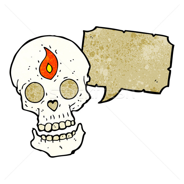 cartoon mystic skull with speech bubble Stock photo © lineartestpilot