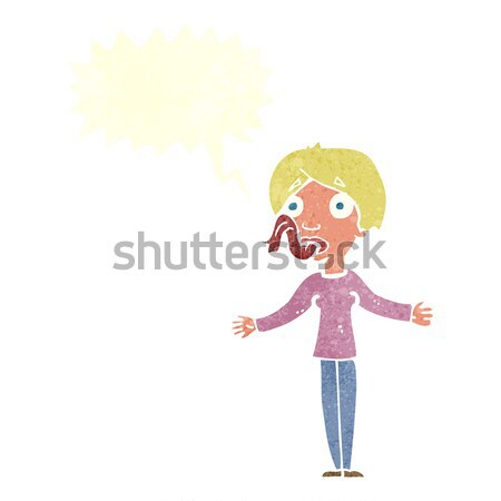 cartoon woman telling lies with speech bubble Stock photo © lineartestpilot