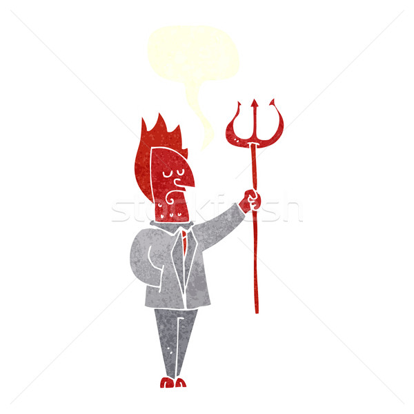 cartoon devil with pitchfork with speech bubble Stock photo © lineartestpilot