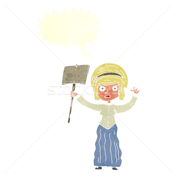 cartoon vicorian woman protesting with speech bubble Stock photo © lineartestpilot