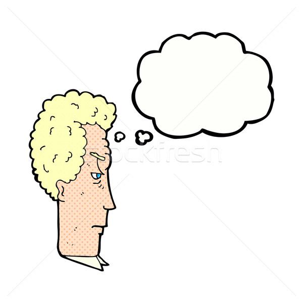 Cartoon agacé homme bulle de pensée main visage Photo stock © lineartestpilot