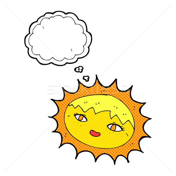 cartoon pretty sun with thought bubble Stock photo © lineartestpilot