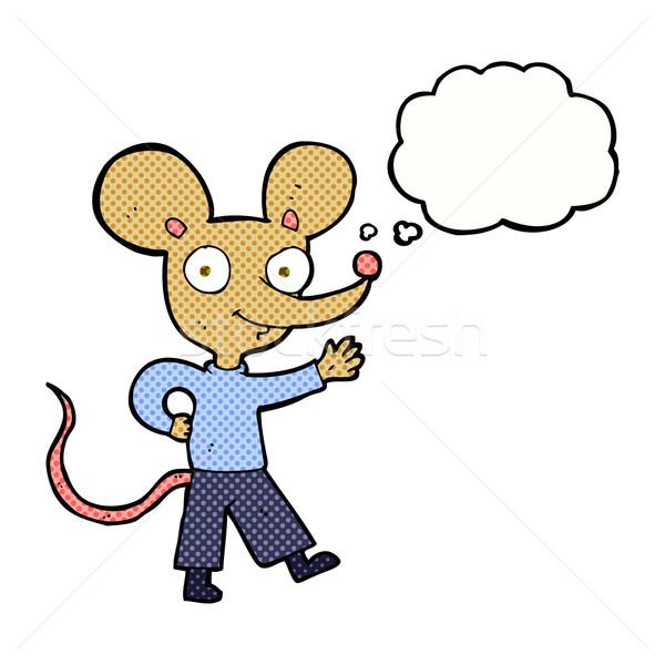 Cartoon myszą bubble myśl strony projektu Zdjęcia stock © lineartestpilot