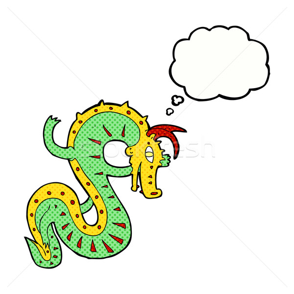 saxon dragon cartoon with thought bubble Stock photo © lineartestpilot