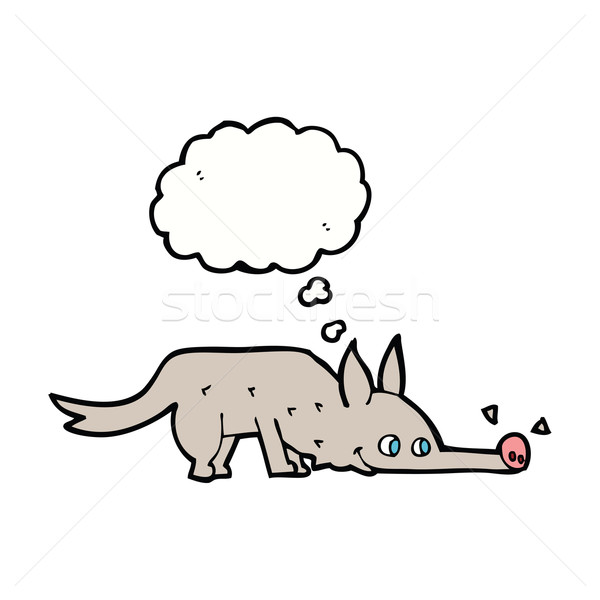 cartoon dog sniffing floor with thought bubble Stock photo © lineartestpilot