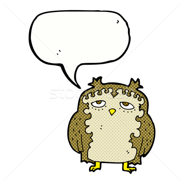 cartoon wise old owl with speech bubble Stock photo © lineartestpilot