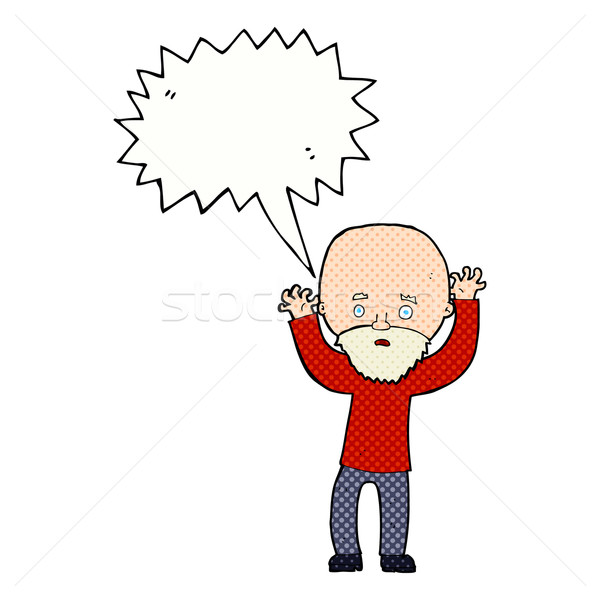cartoon bearded man panicking with speech bubble Stock photo © lineartestpilot