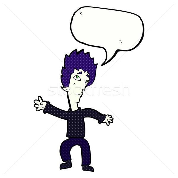 Desenho animado vampiro homem balão de fala mão projeto Foto stock © lineartestpilot