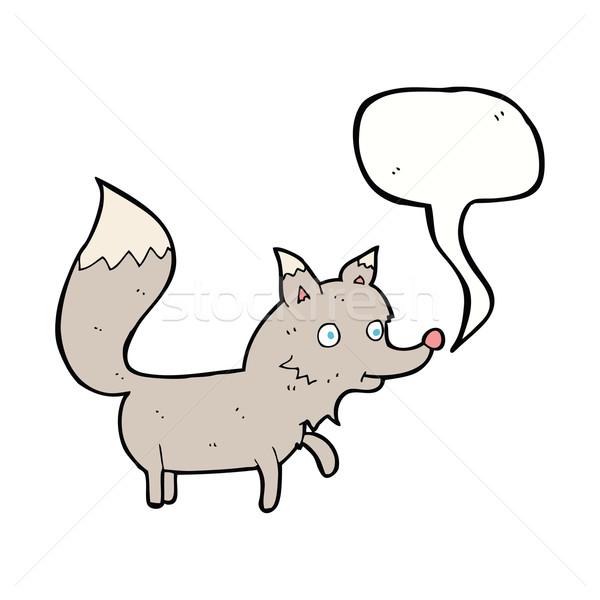 Cartoon wolf welp tekstballon hand ontwerp Stockfoto © lineartestpilot