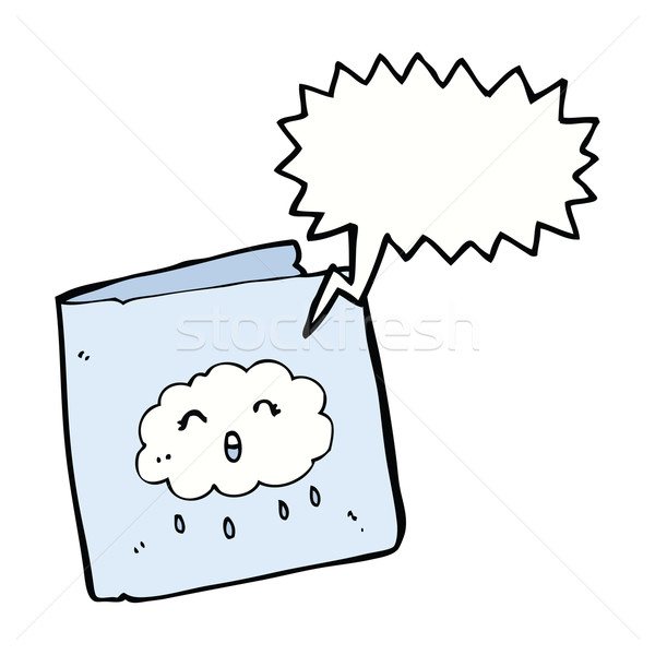 cartoon card with cloud pattern with speech bubble Stock photo © lineartestpilot