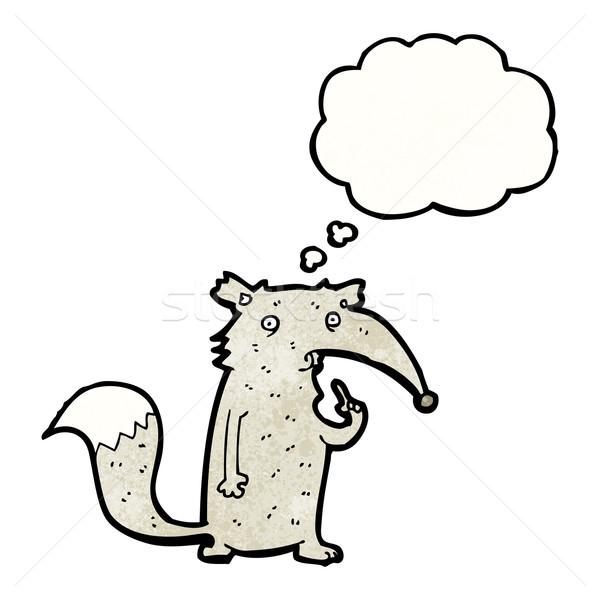 Karikatür kurt fikir doku el mutlu Stok fotoğraf © lineartestpilot