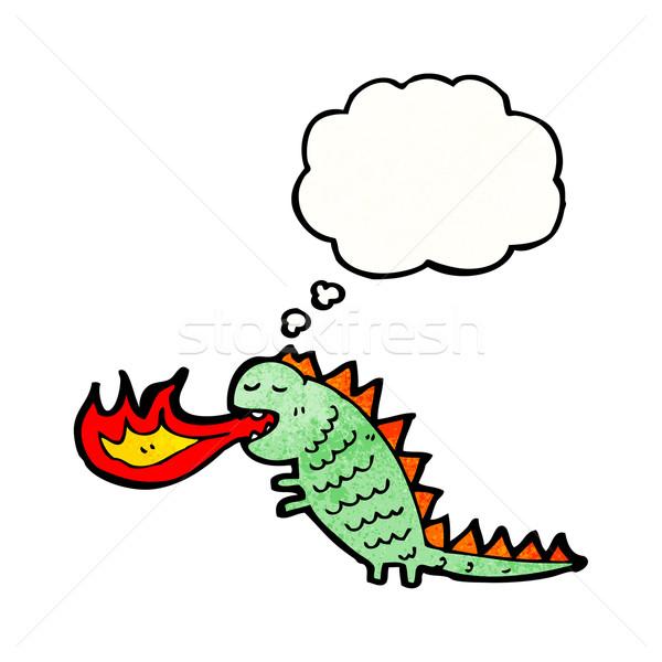 Cartoon brand ademhaling monster praten retro Stockfoto © lineartestpilot