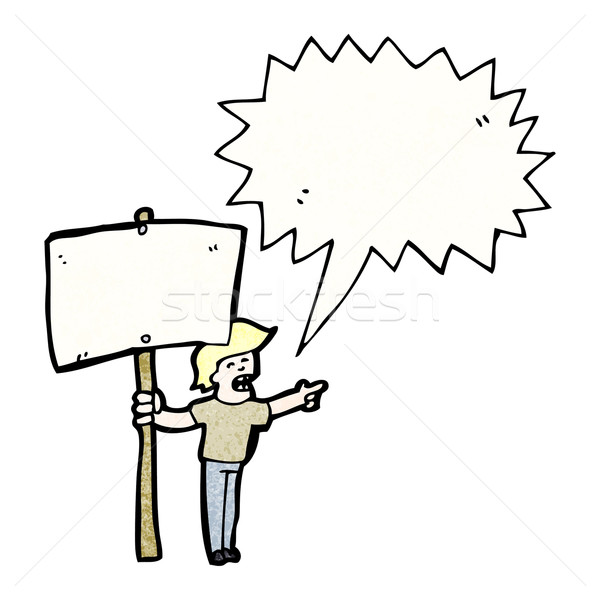 cartoon chanting protester with sign Stock photo © lineartestpilot