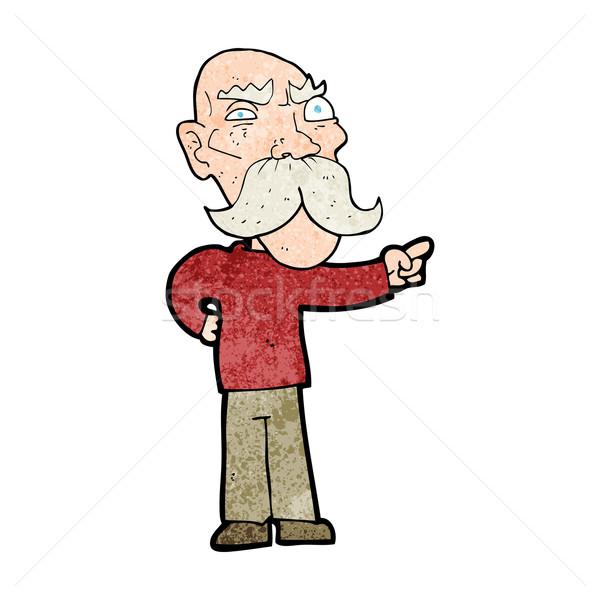 Cartoon infastidito vecchio punta mano design Foto d'archivio © lineartestpilot