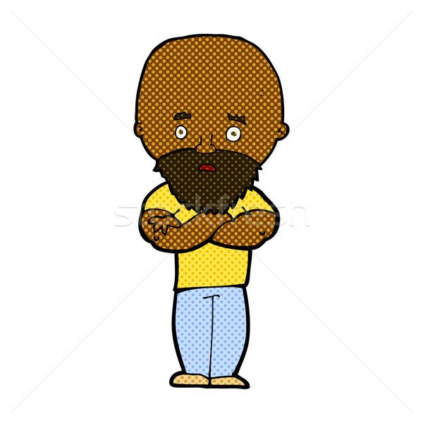 Komik karikatür kel adam sakal Stok fotoğraf © lineartestpilot