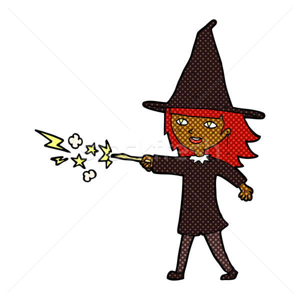 comic cartoon witch girl casting spell Stock photo © lineartestpilot