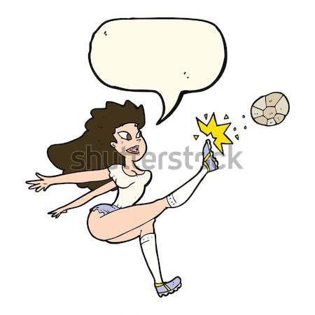 comic cartoon female soccer player kicking ball Stock photo © lineartestpilot
