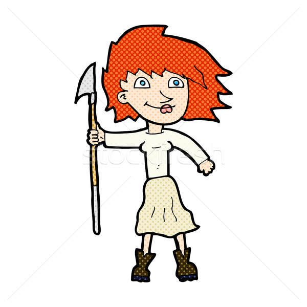 comic cartoon woman with spear Stock photo © lineartestpilot