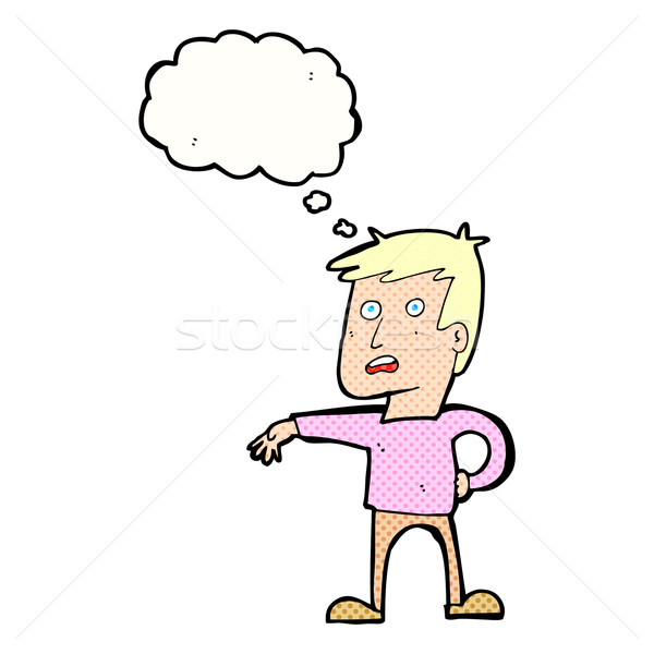cartoon man making camp gesture with thought bubble Stock photo © lineartestpilot