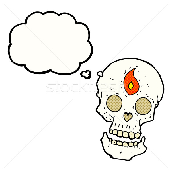 cartoon mystic skull with thought bubble Stock photo © lineartestpilot