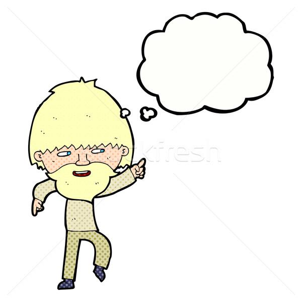 漫画 あごひげを生やした 男 ポインティング 笑い 思考バブル ストックフォト © lineartestpilot