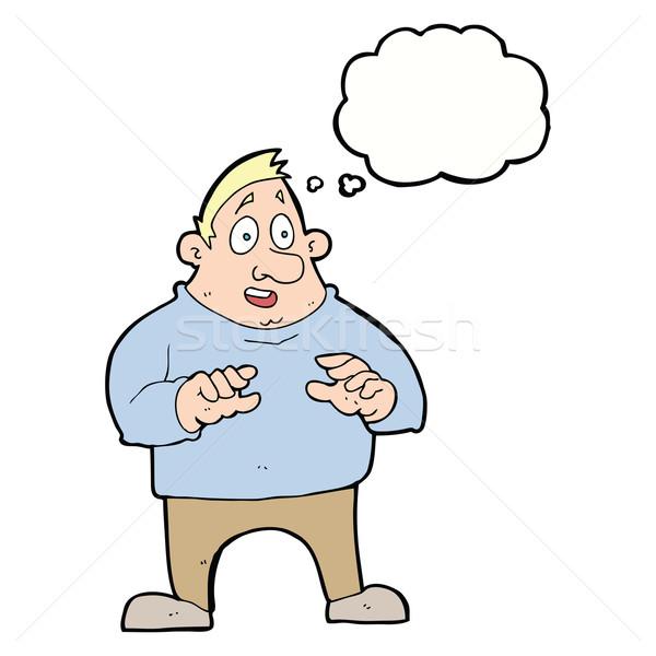 Cartoon возбужденный избыточный вес человека мысли пузырь стороны Сток-фото © lineartestpilot