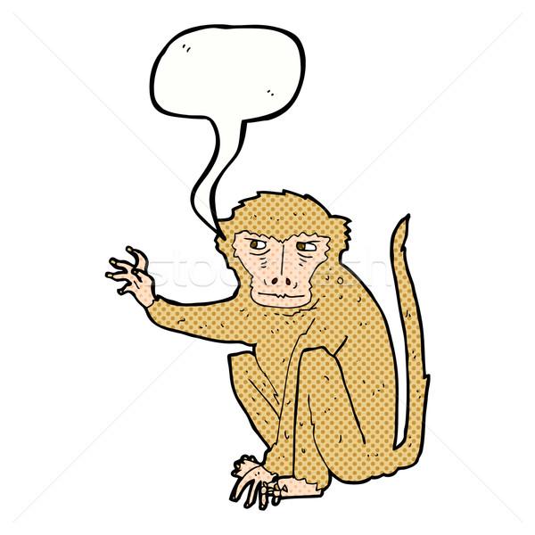 cartoon evil monkey with speech bubble Stock photo © lineartestpilot